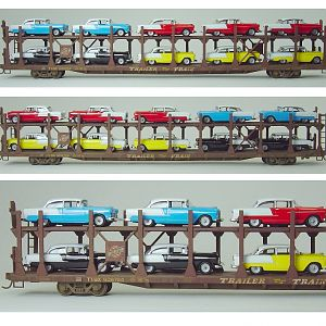 CNW bi-level auto rack with '55 Chevys