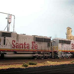 SD75`s in red & silver