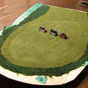 HO scale reel mowers and putting green