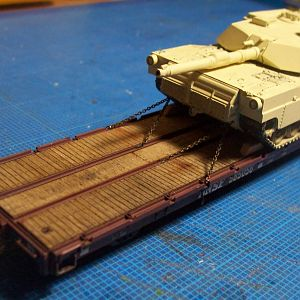 M1-Abrams On Flat Car