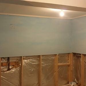 Wall are painted and clouds added