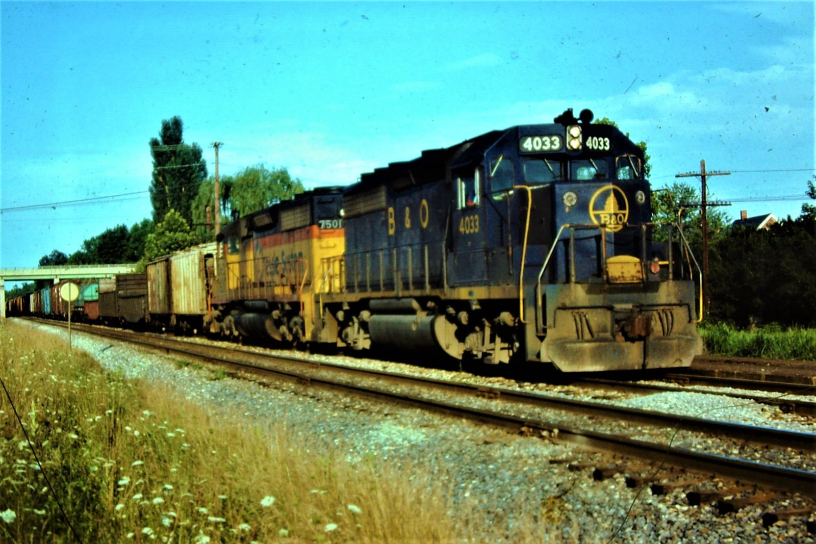 B&O # 85 in Aiken Siding waiting on #82 09-04'1982 Frenchtown MD.jpg