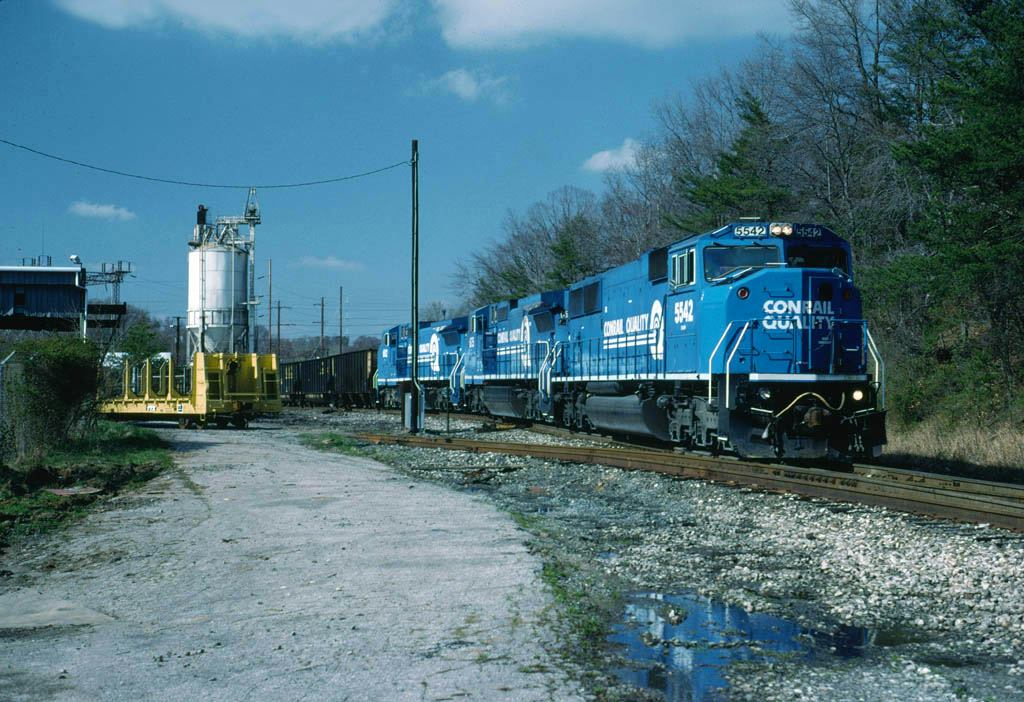 Conrail Coal Train from Benning at Bowie 4-7-1994.jpg