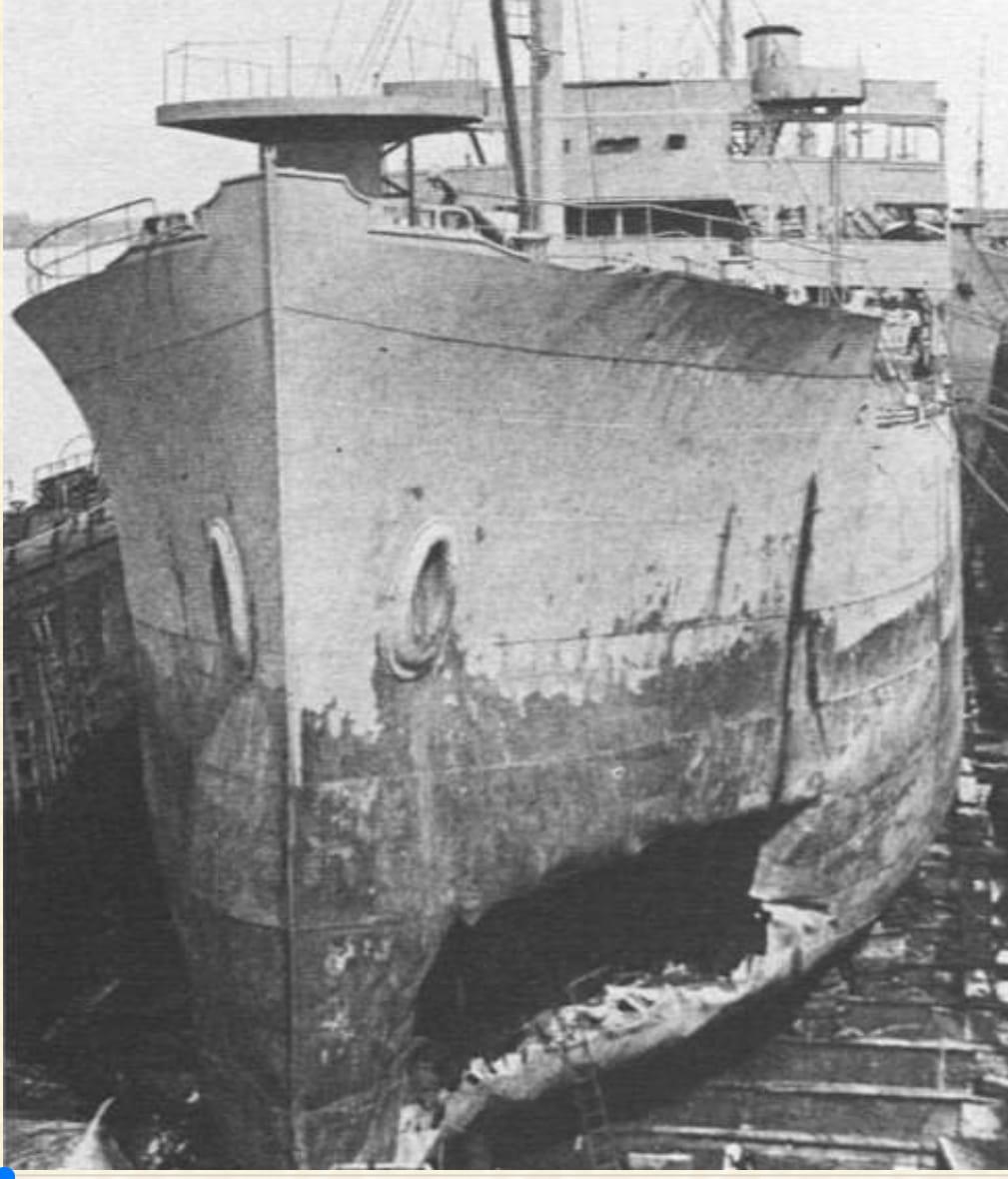 SS SUN Drydocked at Sun Ship May 1942 Torpedo Damage.jpg