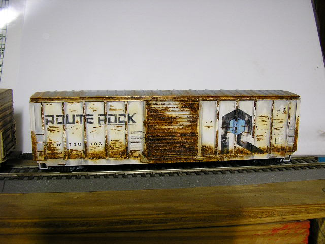 CNW ex-Rock boxcar, weathered with artists oils